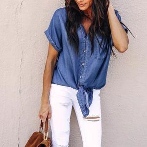 Tops - 🎉Tie front button up denim shirt S